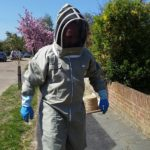 David in his new protective beekeeper suit